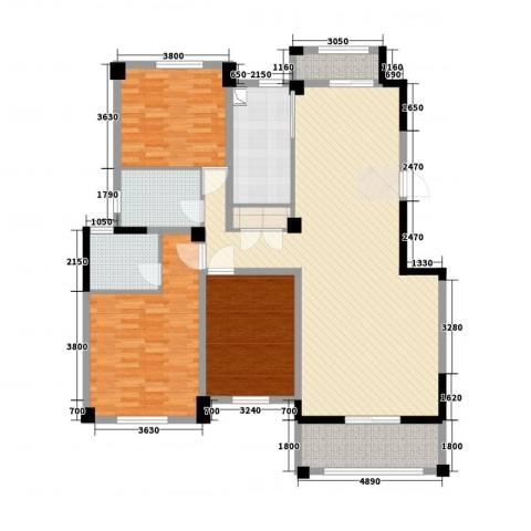 益兴名人湾3室2厅2卫1厨134.00㎡户型图