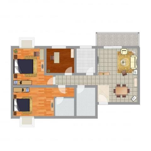 九月华城3室2厅2卫1厨102.00㎡户型图