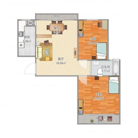 嘉城新航域2室1厅1卫1厨105.00㎡户型图