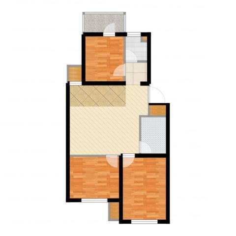 格林小镇3室2厅1卫1厨78.00㎡户型图
