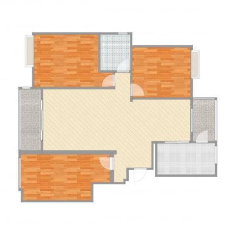 中铁滨江名邸3室2厅1卫1厨115.00㎡户型图