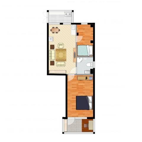 WeHouse2室2厅1卫1厨74.00㎡户型图