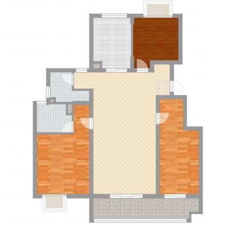 万科金色半山3室2厅2卫1厨114.00㎡户型图
