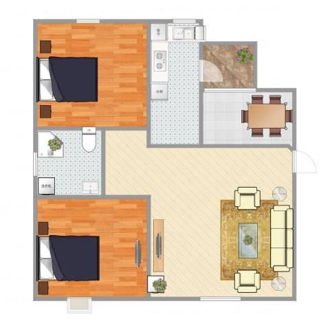 盘锦漫步地中海2室2厅1卫1厨91.00㎡户型图