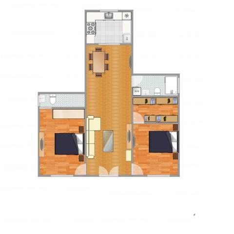 绿中海明苑2室2厅2卫1厨91.00㎡户型图