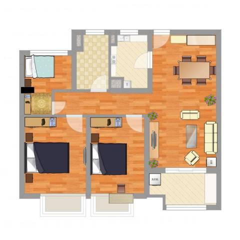 清华世界城3室2厅1卫1厨78.00㎡户型图