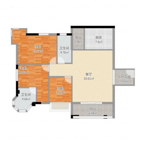 风度广场3室1厅2卫1厨132.00㎡户型图