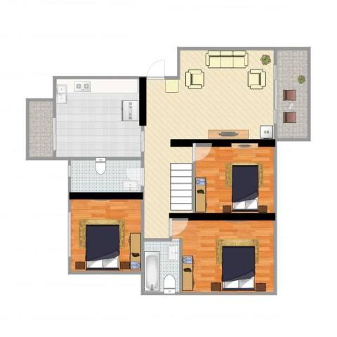 东港丽景苑3室1厅2卫1厨111.00㎡户型图