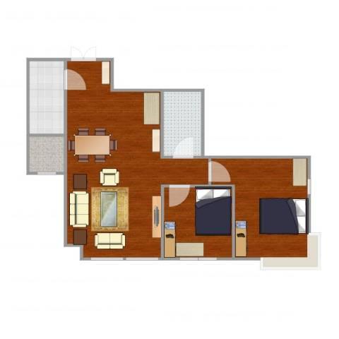 加州水郡西区2室1厅1卫1厨88.00㎡户型图