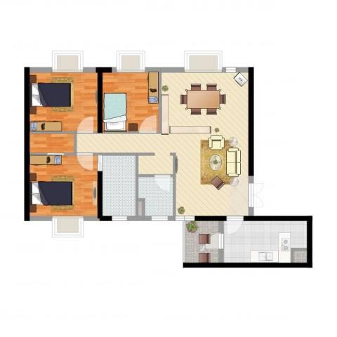 西雅图3室2厅2卫1厨106.00㎡户型图