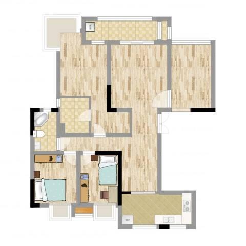中信森林湖4室2厅2卫1厨84.99㎡户型图