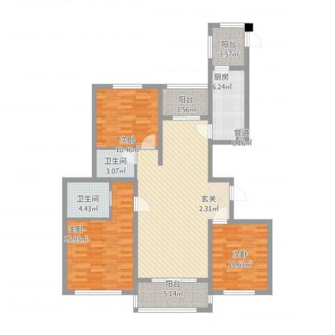 华源上海城三期3室2厅2卫1厨138.00㎡户型图