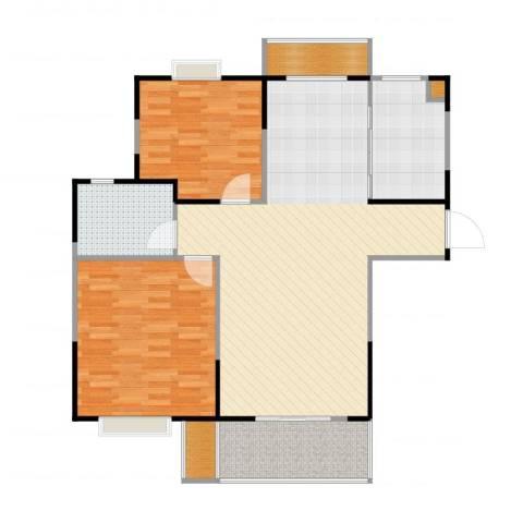 今创启园2室2厅1卫1厨108.00㎡户型图