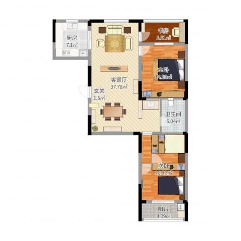 天华・领秀城3室2厅1卫1厨130.00㎡户型图