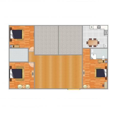 仙林诚品城3室1厅2卫1厨205.00㎡户型图