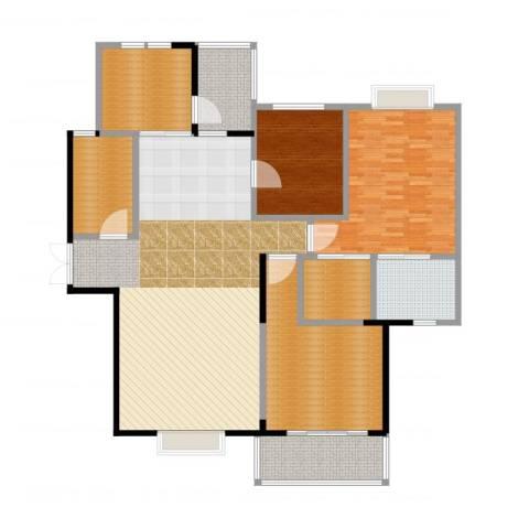 万科红郡3室2厅2卫1厨190.00㎡户型图