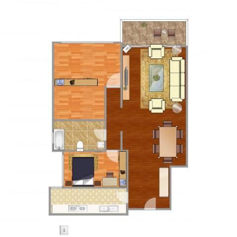 鹭江新城二期2室1厅1卫1厨131.00㎡户型图