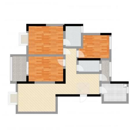 和润家园3室2厅2卫1厨102.00㎡户型图