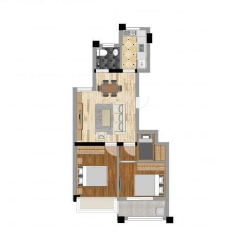 华都颐年园3室2厅1卫1厨63.00㎡户型图