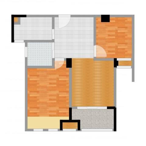 橡树城2室2厅1卫1厨91.00㎡户型图