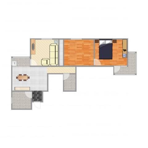南新园2室1厅1卫1厨80.00㎡户型图