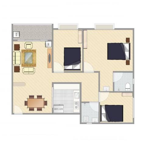 明华轩2013室2厅2卫1厨102.00㎡户型图