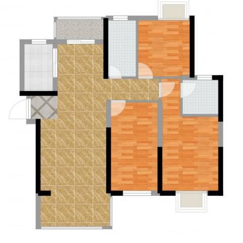 九江曼城3室2厅2卫1厨101.00㎡户型图