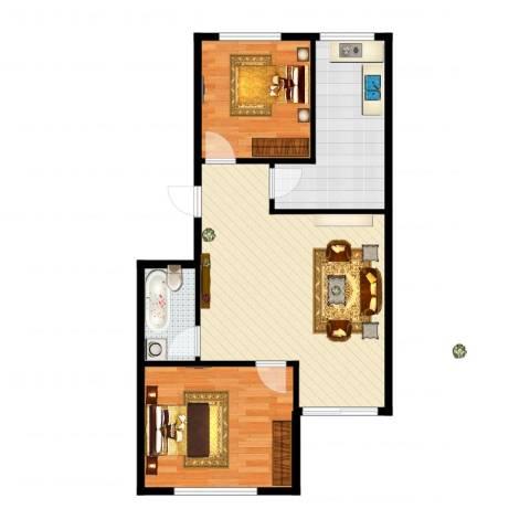 天通苑东一区2室1厅1卫1厨72.00㎡户型图