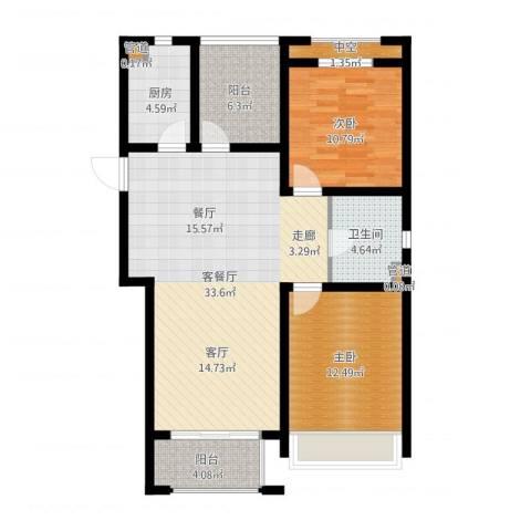 首创・悦都2室2厅1卫1厨112.00㎡户型图