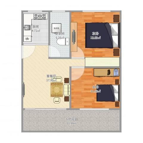 南江苑三二八八弄八十三号一零一2室2厅1卫1厨88.00㎡户型图