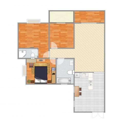 江南华都3室1厅2卫1厨114.00㎡户型图