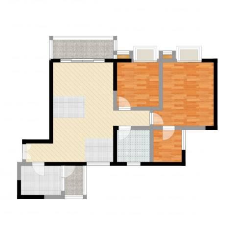 江南世家2室2厅1卫1厨95.00㎡户型图
