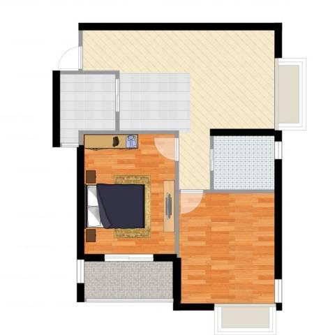 上东名筑2室1厅1卫1厨75.00㎡户型图