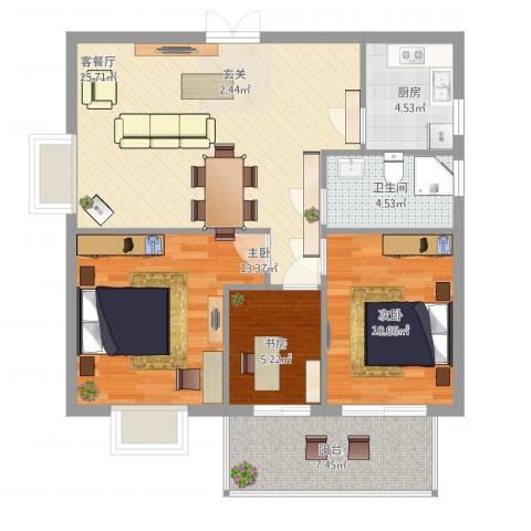 万豪尊品3室2厅1卫1厨99.00㎡户型图