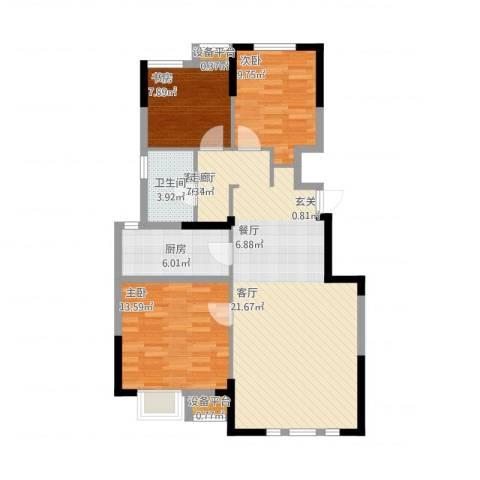 保利罗兰公馆3室2厅1卫1厨112.00㎡户型图