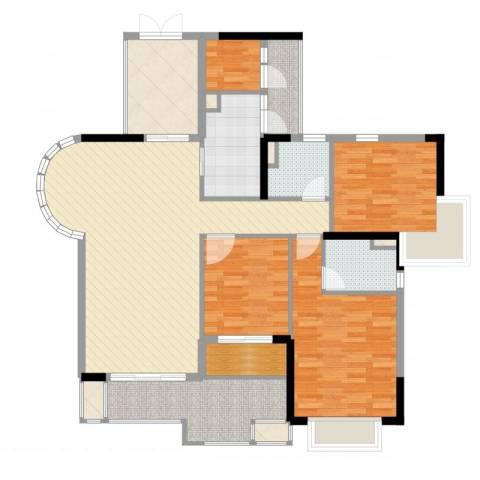 保利城二期3室2厅2卫1厨136.00㎡户型图