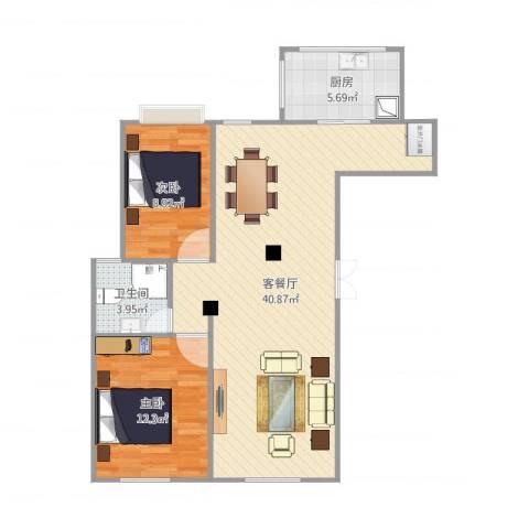 望湖公馆2室2厅1卫1厨94.00㎡户型图