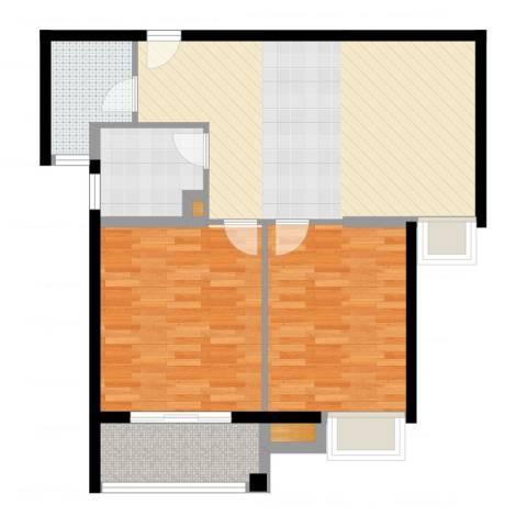金桥澎湖湾2室1厅1卫1厨89.00㎡户型图