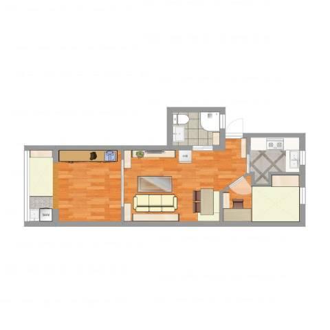 新泾五村1室1厅2卫1厨55.00㎡户型图