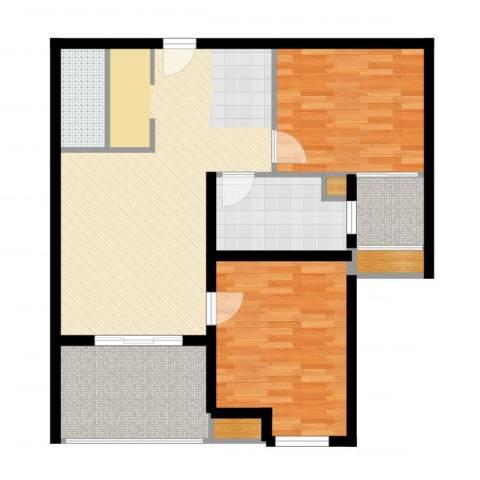 浩华香颂国际城2室2厅1卫1厨86.00㎡户型图