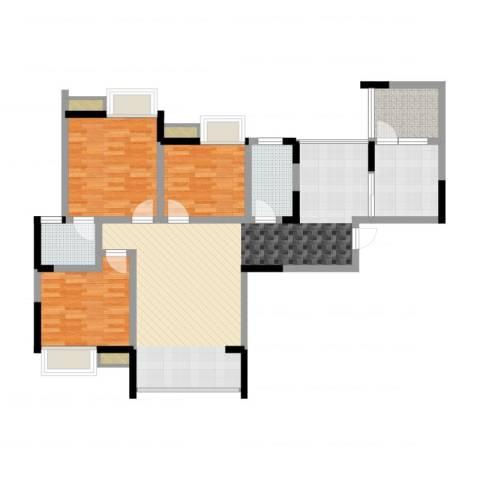 重庆梁平时代广场3室1厅2卫1厨112.00㎡户型图