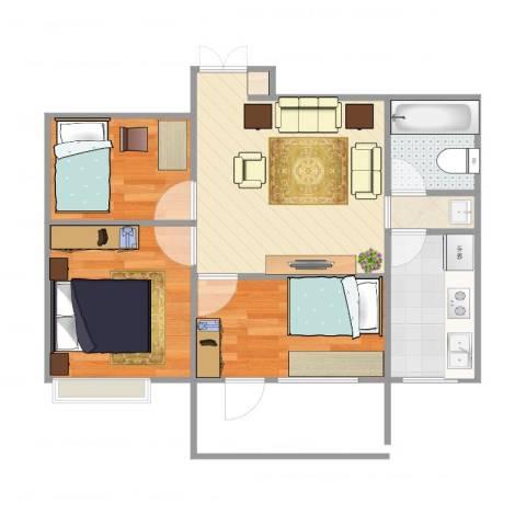 恒馨苑3室1厅1卫1厨57.00㎡户型图