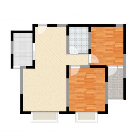 花香维也纳2室2厅1卫1厨76.00㎡户型图