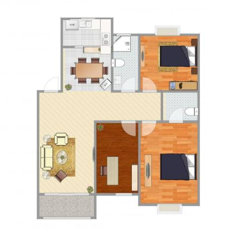 雅典阳光3室1厅2卫1厨95.00㎡户型图