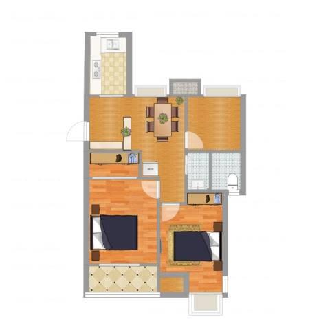 和泰家园2室2厅2卫1厨73.00㎡户型图