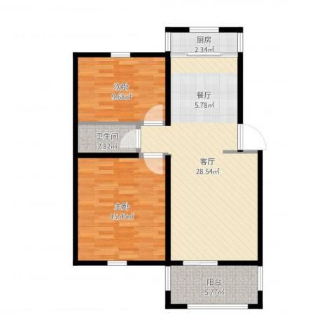 香榭水岸2室1厅1卫1厨91.00㎡户型图