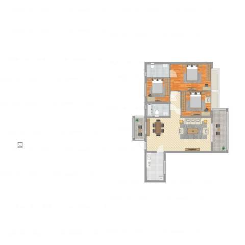 嘉逸园3室1厅2卫1厨131.00㎡户型图