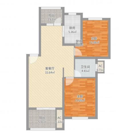 陆宇中央郡2室2厅1卫1厨91.81㎡户型图