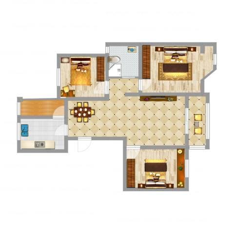 滨湖御景湾2室1厅1卫1厨89.00㎡户型图
