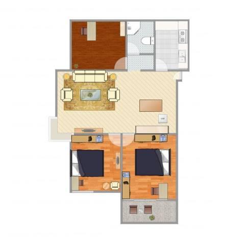 水木清华3室1厅1卫1厨107.00㎡户型图